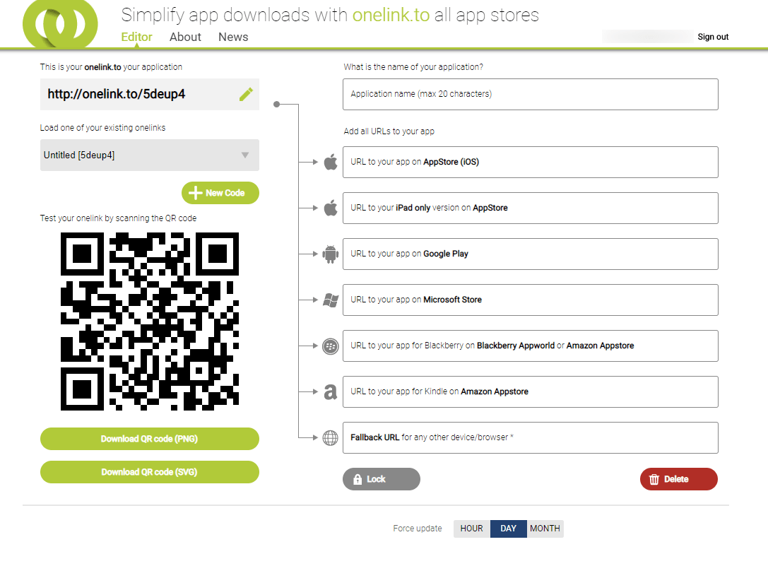 One link or QR code to apps on App Store and Google Play